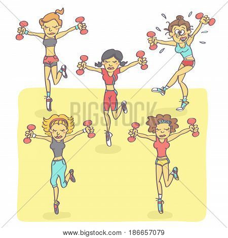 Funny vector cartoon with group of women exercising aerobics while one is all sweaty, stressed and exhausted