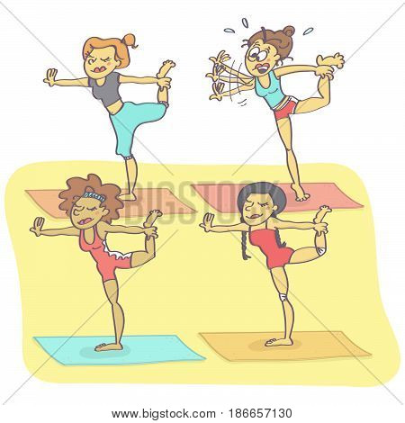 Funny vector cartoon with group of women exercising yoga, one is clumsy just about to fall down
