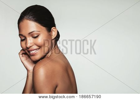 Smiling Pretty Woman With Healthy Clean Skin
