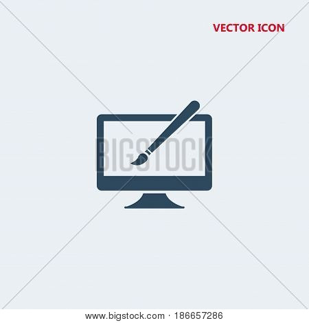 brush artist on the monitor Icon, brush artist on the monitor Icon Eps10, brush artist on the monitor Icon Vector, brush artist on the monitor Icon Eps, brush artist on the monitor Icon Jpg