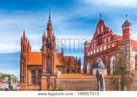 St Anne's and Bernadine's Churches in Vilnius old town, Lithuania.