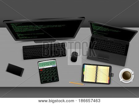 Employer workplace from above on gray office table. Black modern computer laptop smartphone notebook organizer calculator coffee with shadow on gray background. Business concept