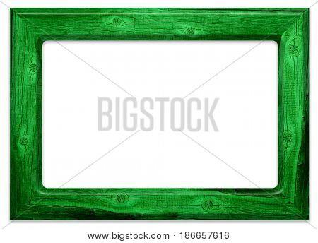 Green old wooden frame