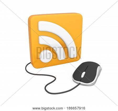 SS Symbol with Computer Mouse isolated on white background. 3D render