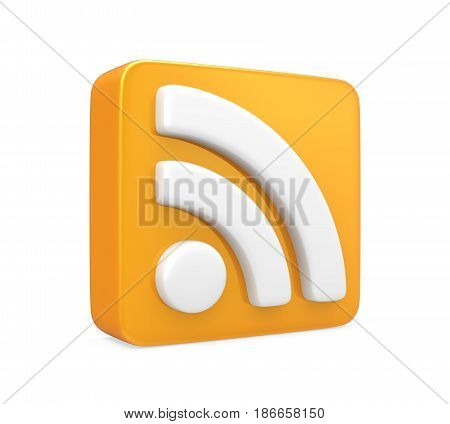 RSS Symbol isolated on white background. 3D render