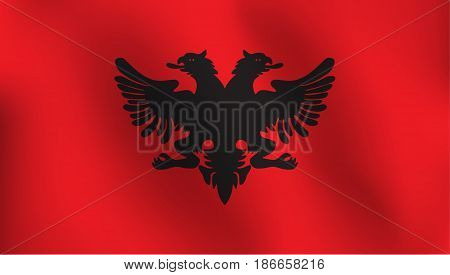 Flag of Albania with a little Waving, Shading & Flag Colors separated layers - Vector Illustration