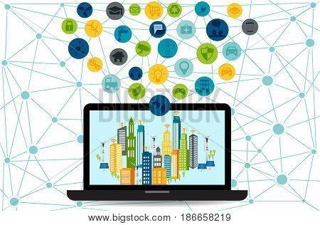 Smart city on laptop with different icon and elements and environmental care.Modern city design with future technology for living. Smart City and wireless communication network
