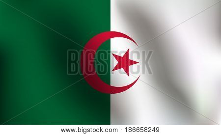 Flag of Algeria with a little Waving, Shading & Flag Colors separated layers - Vector Illustration