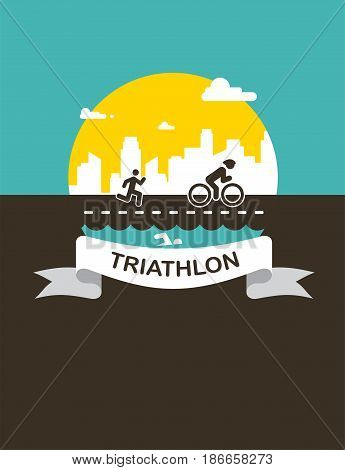 Vector illustration for triathlon poster, flat design. vector illustration