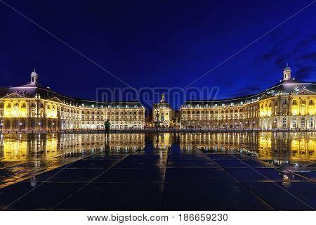 Place De La Bourse with reflection in Bordeaux France