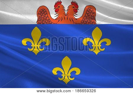 Flag of Versailles is a city in the Yvelines departement in Ile-de-France region France. 3d illustration