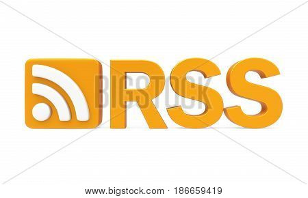 RSS Symbol with Text isolated on white background. 3D render