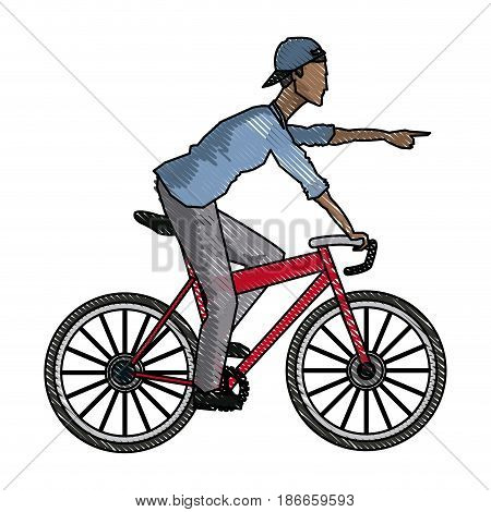 drawing young afro guy rider bicycle pointing hand vector illustration