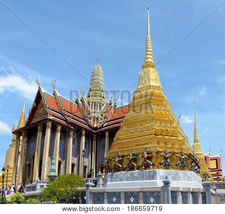 Panoramic View Of The Prasat Phra Thep Bidon And The Golden Chedi In Wat Phra Kaew Complex. Bangkok,