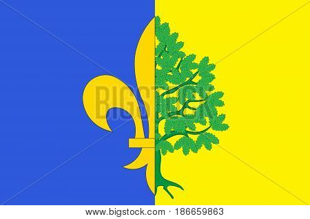 Flag of Mantes-la-Jolie is a commune based in the Yvelines department in the Ile-de-France region in north-central France. Vector illustration