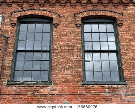 Old building exterior wall and windows background