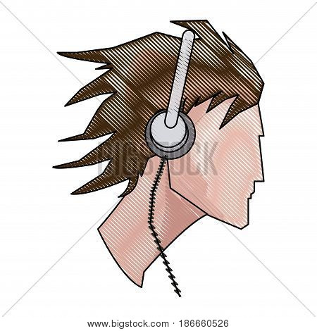 drawing avatar head guy young headphones vector illustration
