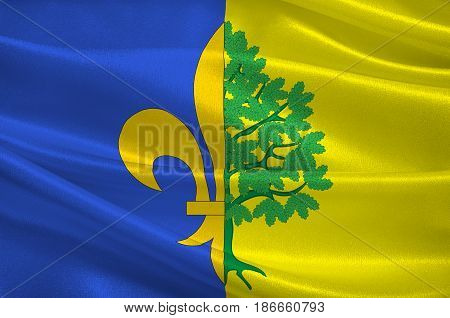 Flag of Mantes-la-Jolie is a commune based in the Yvelines department in the Ile-de-France region in north-central France. 3d illustration