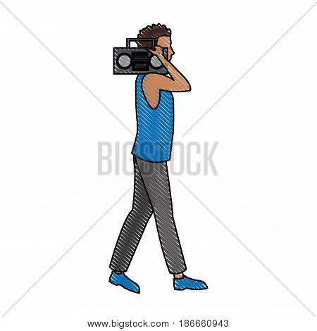 drawing man with stereo walking vector illustration