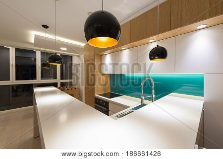 Kitchen countertop in new modern apartment interior
