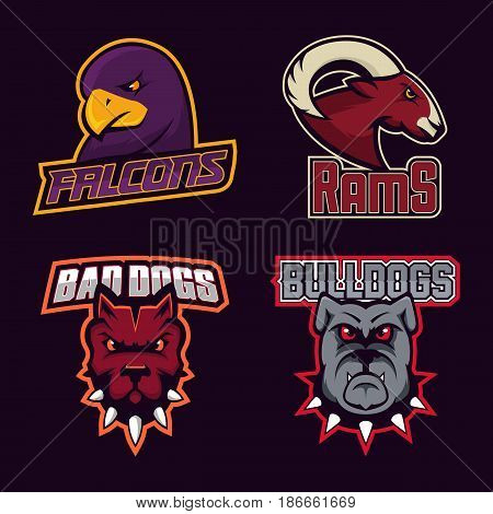 Set of modern professional logo for sport team. Falcons, rams, bad dogs, bulldogs mascot. Vector symbol on a dark background