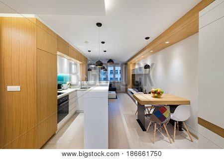 Open plan apartment interior in new luxury house