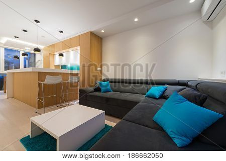 Living room interior in modern new apartment