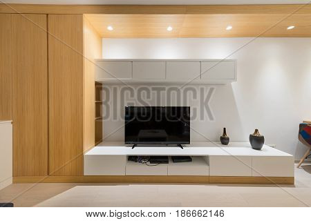 Living room interior - tv stand wall mounted
