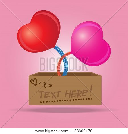 Box with a heart sign symbol jumping out on a spring, vector illustration.
