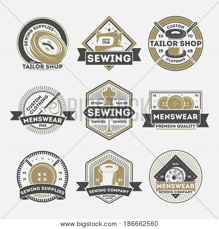 Tailor sewing company vintage isolated label set. Menswear studio badge, tailor shop emblem, premium quality custom clothing atelier vector illustration symbol collection in monochrome style