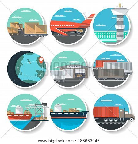 Logistics and worldwide shipping round badge set. Air, road, marine and railway transportation icons. Global freight shipping and cargo delivery, postal service and distribution vector illustration.