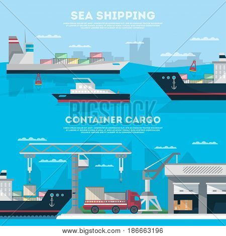 Sea shipping banner set with cargo seaport. Maritime container transportation, commercial seaport logistics. Worldwide freight shipping business company, global delivery service vector illustration