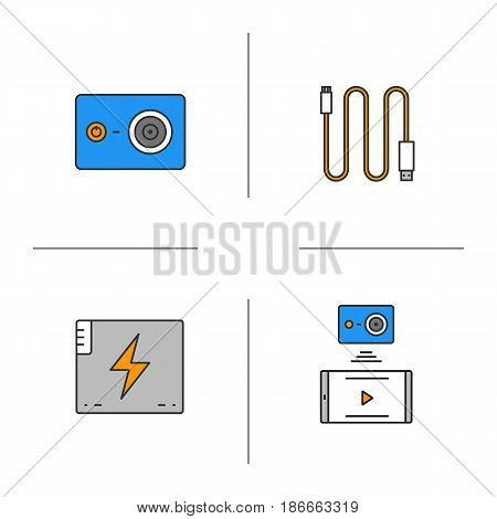 Action camera color icons set. Mini USB cable, battery, action camera to smartphone wireless connection. Isolated vector illustrations