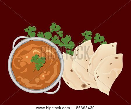 an illustration of a bowl of chicken tikka masala with chapatti halves and coriander garnish on a burgundy background