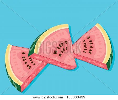 an illustration of three pieces of watermelon on an ocean blue background