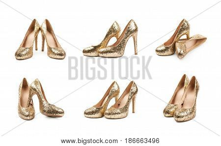 Pair of shining golden high-heeled footwear shoes, composition isolated over the white background, set of six different foreshortenings