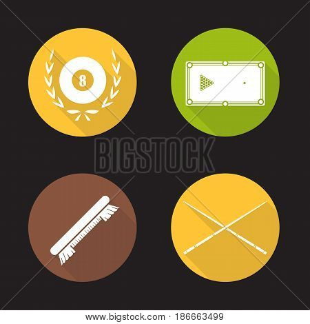 Billiard equipment flat design long shadow icons set. Billiard brush, table with balls rack, crossed cues and eight ball in laurel wreath. Vector silhouette illustration