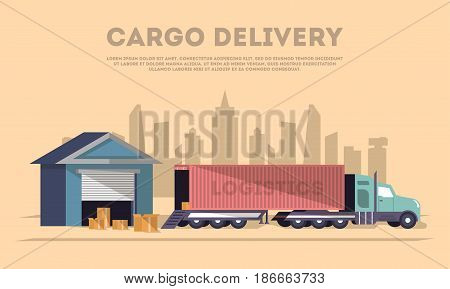 Cargo delivery and logistics banner. Delivery vector illustration with freight truck near storehouse. Freight service, loading process in storage, commercial transport, shipping company poster.