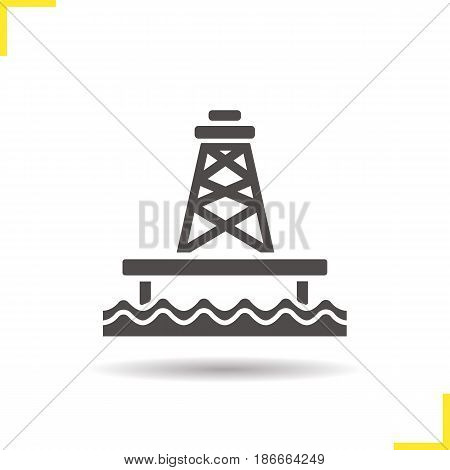 Offshore sea well glyph icon. Drop shadow silhouette symbol. Oil production tower. Negative space. Vector isolated illustration
