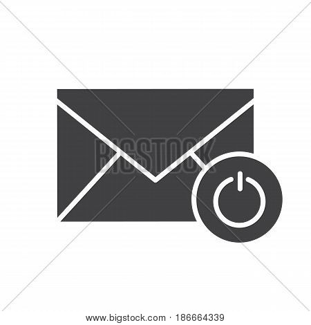 Turn off email notifications glyph icon. Silhouette symbol. Letter with turn off button. Negative space. Vector isolated illustration