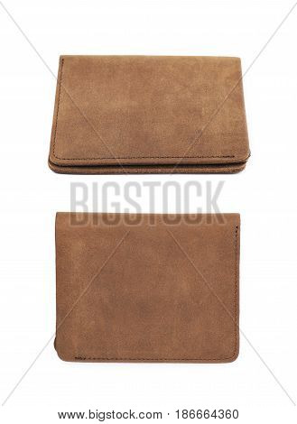 Flat foldable brown leather wallet isolated over the white background, set of two different foreshortenings
