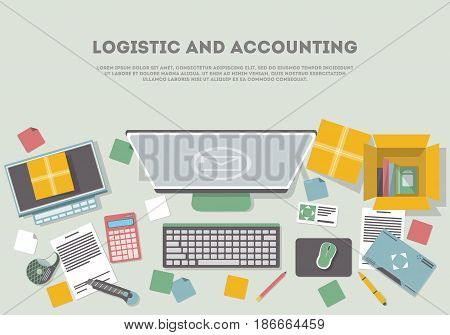 Logistic and accounting banner with top view services operator workplace. Goods shipping and cargo delivery. Postal service and distribution, freight transportation company vector illustration.