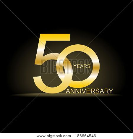 Fifty years anniversary celebration gold logotype. 50th anniversary isolated on background. Vector