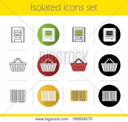 Supermarket icons set. Flat design, linear, black and color styles. ATM machine, barcode, shopping basket. Isolated vector illustrations
