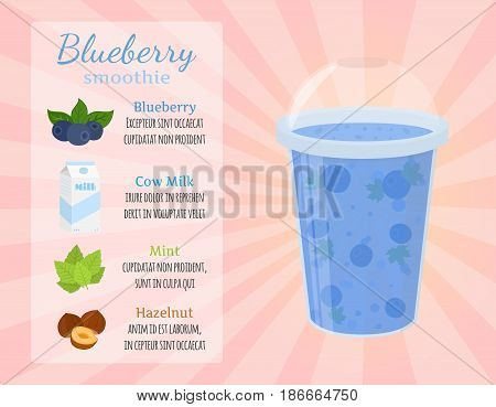 Smoothie recipe - blueberries, detox, milk, healthy drinks. Blueberry, peanut, hazelnut in recipes. Made in cartoon flat style.