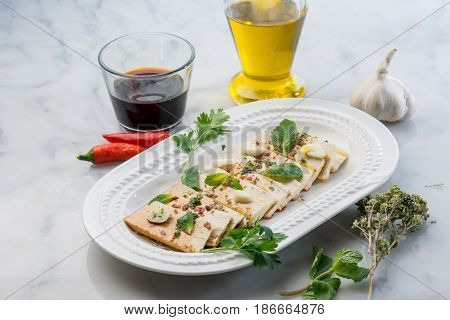 marinated tofu with soy sauce hot chili pepper garlic and herbs