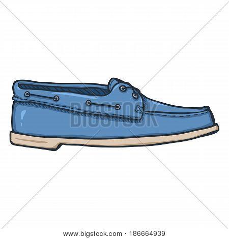 Vector Cartoon Illustration - Blue Topsider Men Shoes