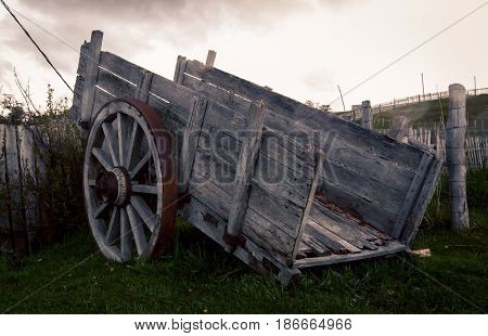 Old wooden cart on a farm in Argentina