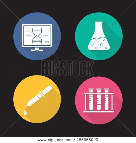 Science laboratory flat design long shadow icons set. Dna research, beaker with liquid, medical dropper, test tubes rack. Vector silhouette illustration