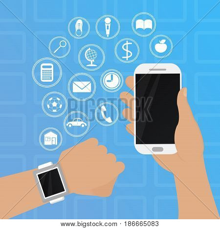 Smart watch on hand with phone vector illustration in flat sty. Illustration in flat style